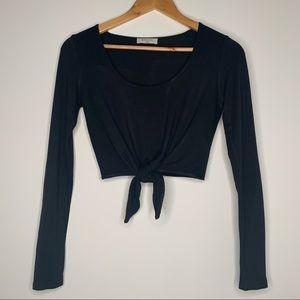 Babaton Black Long Sleeve Tie Front Crop Top XXS